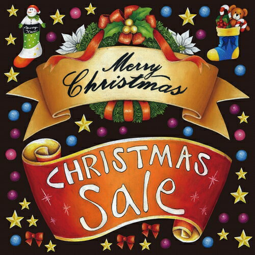 シール クリスマス りぼん風 風セール 装飾 デコレーションシール チョークアート 窓ガラス 黒板 看板 POP ステッカー 用