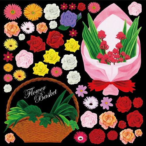 シール 花かご 花束 装飾 デコレーションシール チョークアート 窓ガラス 黒板 看板 POP ステッカー 用