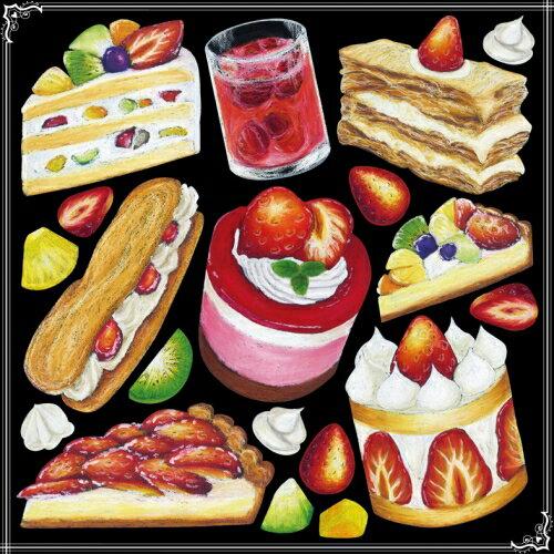 シール スイーツ ショートケーキ カフェ 装飾 デコレーションシール チョークアート 窓ガラス 黒板 看板 POP ステッカー 用