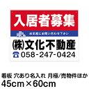 看板 不動産 管理 募集 1セット(10枚入り) ( FNK-102AN 樹脂板2mm 名入れ代込 )