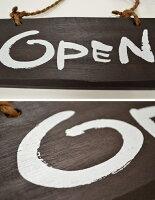 [ドアプレート]手書き筆文字風/木製「OPEN/CLOSED(オープン/クローズド)」英語