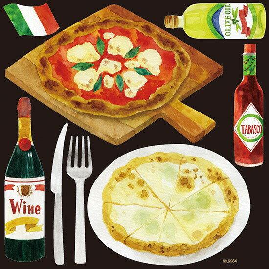 シール 洋食カフェ ピザ ピッツァ ワイン マル...の商品画像