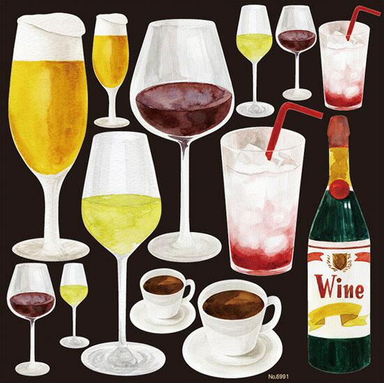 シール 飲み物 ドリンク ワイン ビール スカッシュ 珈琲 装飾 デコレーションシール チョークアート 窓ガラス 黒板 看板 POP ステッカー 用