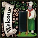 シール リボン welcome コック 花 葉っぱ アイビー 装飾 デコレーションシール チョークアート 窓ガラス 黒板 看板 POP ステッカー 用