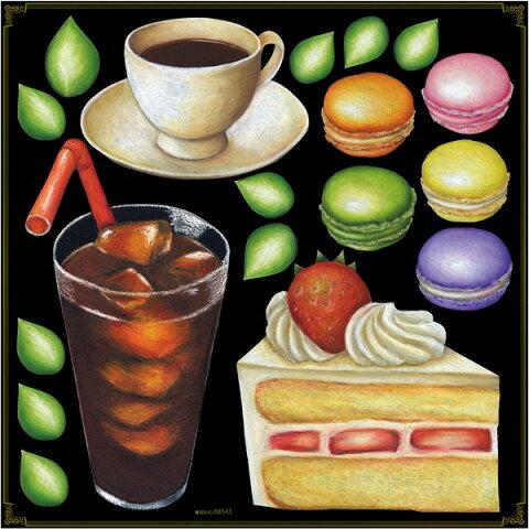 シール 苺 ケーキ コーヒー マカロン アイスコーヒー 葉っぱ 装飾 デコレーションシール チョークアート 窓ガラス 黒板 看板 POP ステッカー 用