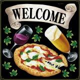 シール ピザ ビール ワイン マルゲリータ welcome リボン 装飾 デコレーションシール チョークアート 窓ガラス 黒板 看板 POP ステッカー 用