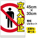 看板 表示板 「 立入禁止 」 小サイズ 30cm × 45cm イラスト