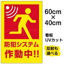 看板 表示板 「 防犯システム作動中 」 中サイズ 40cm × 60cm イラスト プレート
