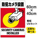 看板 表示板 「 防犯カメラ設置 」 縦型 中サイズ 40cm × 60cm 監視カメラ イラスト