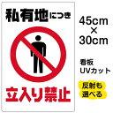 看板 表示板 「 私有地につき立入り禁止 」 縦型 小サイズ 30cm × 45cm イラスト