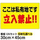 看板 表示板 「 ここは私有地です 立入禁止!!」 横型 小サイズ 30cm × 45cm 黄色地 プレート