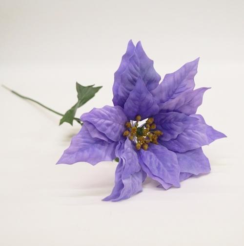 ベルベットポインセチア1輪 花径25cm(造花・アートフラワー)パープル