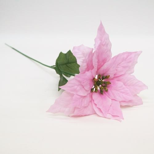 ベルベットポインセチア1輪 花径25cm(造花・アートフラワー)ピンク