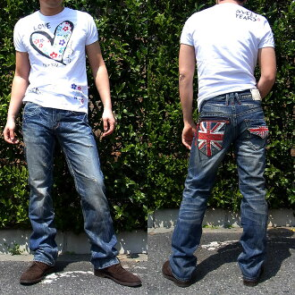 Red pepper jeans mens denim jeans REDPEPPER Union Jack embroidered straight denim #8956!