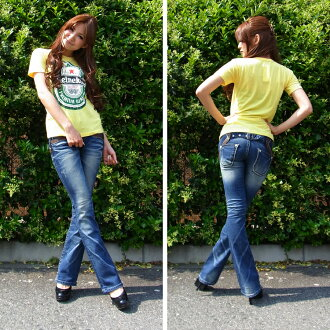 Lolita jeans ( LOLITA JEANS ) レディースウォッシュ machining vintage beauty legs タイトブーツカット denim jeans 1255! Red pepper RED PEPPER