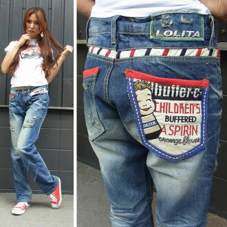 Lolita jeans ( LOLITA JEANS ) ladies 2012 new LOLITAJEANS 1089 boyfriend straight denim boys appliqued crash jeans! Red pepper RED PEPPER