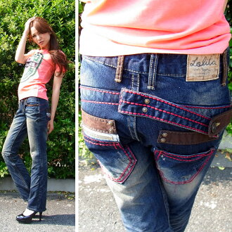 Lolita jeans ( LOLITA JEANS ) レディースレッドステッチボーイズストレート denim jeans denim boy friend 1006-16! Red pepper RED PEPPER
