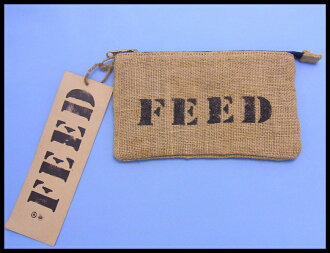 FEED (feed) linen material cosmetic pouch small wristlet bag cosmetic products put your pencil case small fresh