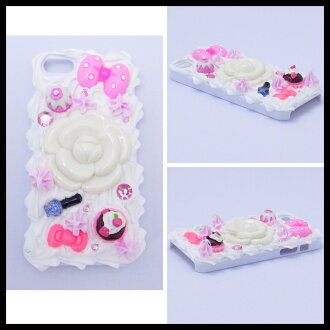 / cake with 5 five cases of eyephone iphone5 decorations case #42 キャラクタースイーツホイップデコケースカバーケース /iPhone5 case / smartphone case / brand / smartphone case / handmade / デコ / eyephone ribbon