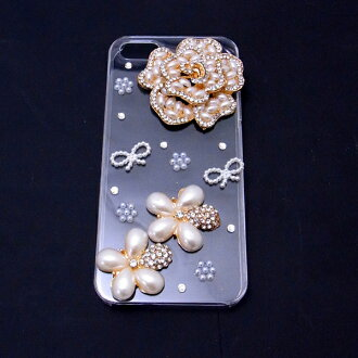 / with 5 five cases of 5 eyephone iphone5 decorations case #12 flower / ribbon / flower / pearl / eyephone デコケースカバーケース /iPhone5 case / smartphone case / brand / smartphone case / handmade / デコ / eyephone ribbon