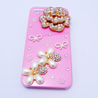 IPhone 5 case iphone5 decoration case # 11 flowers and Ribbon flower / / Pearl/iPhone iPhone 5 dekocasecovercase 5 case / smahocase / brand / smart phone case / handmade / Deco / iPhone 5 Ribbon /