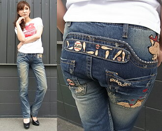 Lolita jeans ( LOLITA JEANS ) LOLITAJEANS ladies boyfriend straight denim jeans baseball dog Doggie boys denim pants 1249! Red pepper RED PEPPER