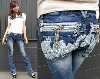 Red pepper jeans ( RED PEPPER ) REDPEPPER women's beauty シルエットスリムブーツカット denim jeans flower skull embroidered initials chain with タイトブーツ cut jeans 5591!