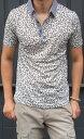 クラス ロベルト カヴァリ(CLASS ROBERTO CAVALLI)  メンズ 半袖ポロシャツ2014SS 春夏新作アニマル柄 ヒョウ柄 豹柄CLASS-14S CUB 42【グレー】