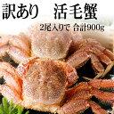 北海道産訳あり 活毛蟹 2尾入りで合計900g前後(大きさそれぞれ異なります)毛ガニの美味しさを味わうなら、未冷凍の活蟹。足折れ、サイズ規格外のわけあり品毛がにです。活毛ガニでかにお刺身用、焼きガニが食べられます。【RCP】