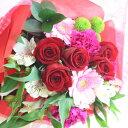 【新鮮な花をお届け】 バラがメインのフレンチスタイルブーケ 送料無料 オシャレな花束 花 ギフト フラワーギフト お祝い 結婚祝い 記念日 誕生日 プロポーズ バレンタインデー ホワイトデイ 還暦祝い 送別の花 カラーが選べる 赤 ピンク 白 黄色