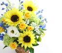 ひまわりとさわやかな色のアレンジメント 送料無料 花 ギフト フラワーギフト お祝い 暑中見舞い 記念日 誕生日 母の日 お見舞い 敬老の日