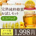 蜂蜜 はちみつお試しセット 90g×5個 エコパック 【メール便送料無料】 国産、外国産の