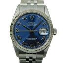 【ギャラ有】ROLEX ロレックス デイトジャスト 16234 自動巻き デイト U番 K18WG SS ジュビリーブレス ブルー メンズ 腕時計【中古】