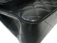 CHANELシャネルマトラッセWフラップWチェーンショルダーバッグA01112ラムスキンブラック×シルバー金具【中古A】