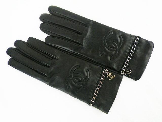 【未使用品】シャネル チェーン付手袋 サイズ8 ラムスキン×シルク ブラック グローブ【中古】