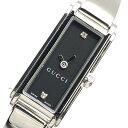 GUCCI グッチ 109 レディース 腕時計 クオーツ 黒文字盤 2Pダイヤモンド 2針 ステンレス シルバーカラー バングルウォッチ 管理RY21000713
