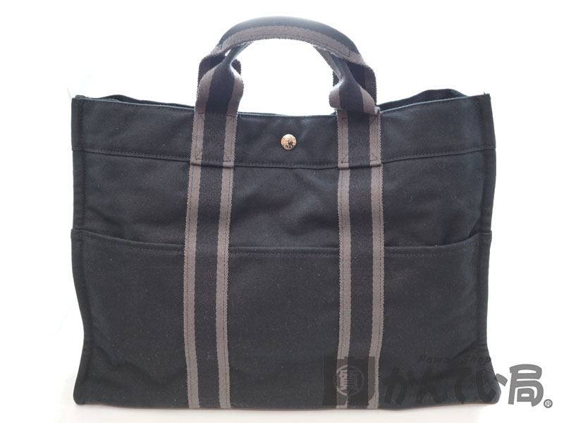 c1fe2c060d03 HERMES【エルメス】 フールトゥトートMM キャンバス ブラック 黒 トートバッグ 通勤通学 鞄 【