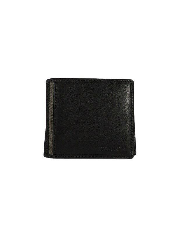 COACH コーチ F74617 二つ折り財布 黒【】【未使用】かんてい局【_包装選択】 【COACH】【メンズ】【美品】