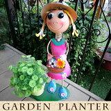 かわいいブリキの人形/オブジェ/置物 フラワーポット/花台/鉢植え/プランター ガーデニング・園芸雑貨 ナチュラル ギフトにもおすすめ 高さ50cm 女の子 ピンク