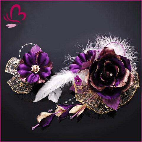 【成人式 振袖 髪飾り】 花かんざし2点セット 紫 大きい 【卒業式の袴 和装の結婚式 七五三や浴衣、着物に】