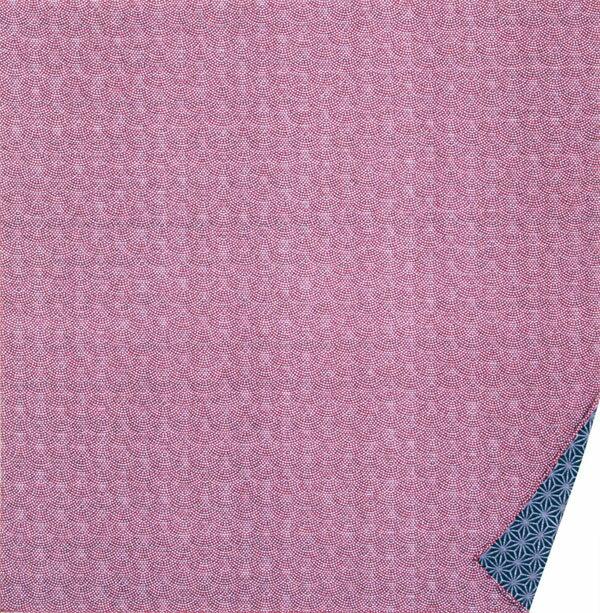 [お弁当箱包み]綿の風呂敷 両面染のふろしき 鮫小紋・麻型(色:エンジ|紺) 50cm 風呂敷専門店・唐草屋
