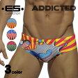 ADDICTED (アディクティッド) SUPER HERO SUNGA メンズ ローライズ ブリーフ型スイムウェア アメコミ風 派手 インパクト 海水パンツ 海パン 水泳 海水浴 夏 ビーチウェア シンプル ベーシック