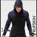 RufSkin (ラフスキン) SEVEN ルーズフィット メンズ 長袖パーカー 水分発散性ストレッチナイロン スポーツウェア ジムウェア パーカージャケット スポーツパーカー プルオーバー