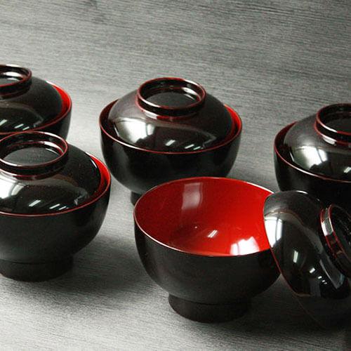 日本製蓋付き雑煮椀 黒塗り内朱 越前漆器 直径約13cm 5客セット