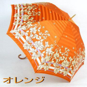 【レビューで特別価格&送料無料!】レディース雨傘長:LANCETTI(ランチェッティ)の「ボーダーフラワー」がおしゃれで上品な雨傘長(ジャンプ傘