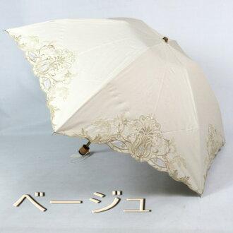 女士們傘折疊迷你: 透明硬紗 & 古董刺繡是一個時尚的第一類遮光絕緣熱風雨無阻聯合的傘折疊傘防紫外線切的袋,配件,配件時尚飾品第一品牌,小陽傘的婦女 [傘頂大廳]