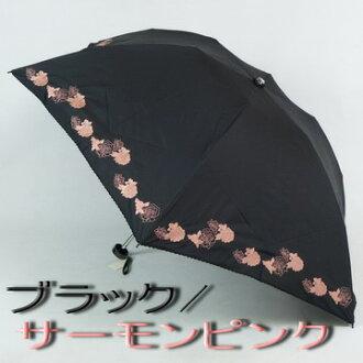 女士們傘折疊迷你︰ RIM 玫瑰 (玫瑰) 刺繡 & 泡菜是時尚第一類遮光絕緣熱雨或閃耀兩折疊傘防紫外線切的袋,配件,配件時尚飾品第一品牌,為婦女 [傘頂級酒店、 新 05p01チct16 的小陽傘