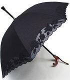 【御予約品】7月中旬入荷予定★素敵なステッキ傘婦人つえ傘【Mサイズ】ばらあど(ブラック)【送料無料】親骨55cm/全長約78cm/UVカット晴雨兼用 ※とも生地の外袋はございません※小さいほうのMサイズのつえ傘です