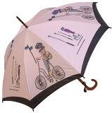 ≪×在庫なし≫◆巴里の自転車 スライトピンク・ロワイヤル 【ほぐし織り 】最高級婦人長傘モンブランヤマグチの傘