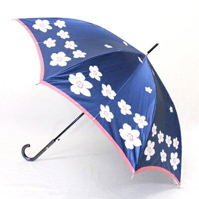 【_包装】FRANCO FERRAROフランコ・フェラーロ「フラワーリング」 婦人用軽量雨傘ワンタッチ【対応】 雨傘定番の花柄アイテムもセンス抜群な配色で新鮮に?長い